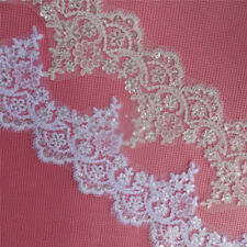 1Yard Delicate Sequin Bridal Eyelash Lace Trim DIY Veil Wedding Dress Applique