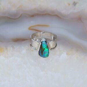 Boulder Opal Ring, 925er Silber, Edelsteinring (22965), Edelsteinschmuck