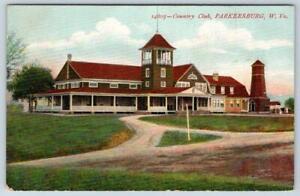 1910's ERA PARKERSBURG WV COUNTRY CLUB*ANTIQUE POSTCARD*DIRT ROAD*FRONT PORCH