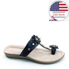 Brieten Women's Toe Ring Flat Slide Sandals Rhinestone Beach Causal Sandal Shoes
