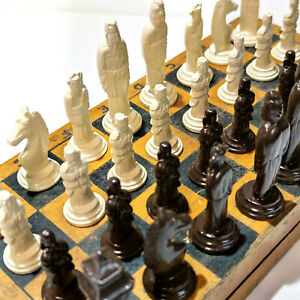 Military Style Chess Vintage Ussr Set Soviet Gypsum Russian Antique Old Rare Su