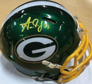 Aaron Jones Autographed Green Bay Packers Mini Helmet- Flash Beckett Holo