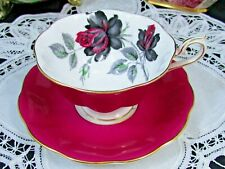 ROYAL ALBERT MASQUERADE ROSE MAGENTA PINK AVON SHAPE TEA CUP AND SAUCER