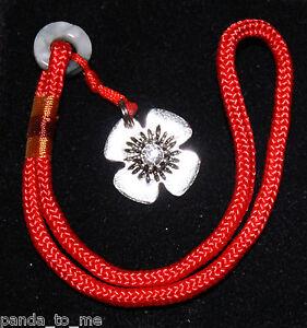 Clasp Lock Opener, flower on red cord, for European barrel lock bracelets
