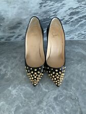 Christian Louboutin Studded Black Leather Pigalle Shoes Size 37