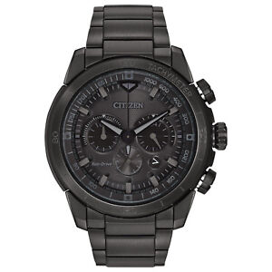 Citizen Eco-Drive Men's Ecosphere Chronograph Black Band 48mm Watch CA4184-81E