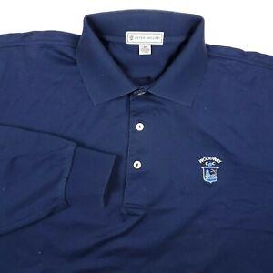 Peter Millar Solid Blue Golf Woodway Mens Medium Long Sleeve Casual Polo Shirt