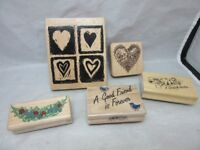 5x  rubber stamps. Friends, heart, flowers, more...