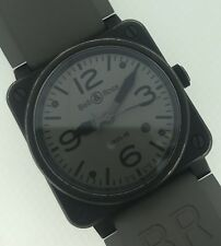 Bell & Ross BR03-92 Commando Black PVD 42mm Gray Dial Rubber Strap Box & Papers