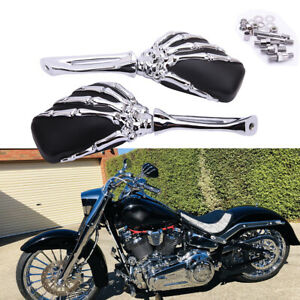 Skull Mirror For Harley FatBoy Sportster Heritage Softail Skeleton Hand Rearview