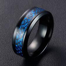 Steel Ring Black Dragon Blue Carbon Fiber Band RingJewelry for Men