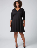 Lane Bryant 3/4 Sleeve Princess Fit & Flare Dress 18/20 22/24 26/28 Blk 2x 3x 4x