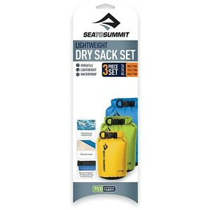 SEA TO SUMMIT LIGHT WEIGHT DRY SACK 3 PIECE SET WATER PROOF DRY BAG 1L, 2L & 4L