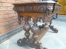 19th Century Carved Oak Library Table  Lion Head Desk Flemish Gothic
