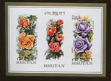 Bhutan Souvenir Sheet Stamps # 150E Featuring Variety of Roses - Value $16
