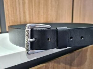 FOSSIL LADIES LEATHER BELT SILVER BUCKLE BLACK - M