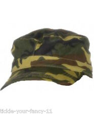 Mens Womens Army Soldier Cap Camo Camouflage Fancy Dress Green Hat Boys Girls