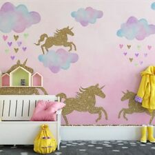 Gold Unicorn Clouds Wall Sticker Novelty Kids Room Art Home Decor Mural Decal US
