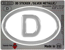 D Germany OVAL GEL DOME CAR STICKER Silver metallic Resin Decal 3d Domed Badge