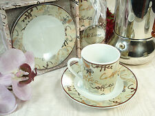 2 Cup 2 saucer Coffee Design Espresso Cups  coffee gift set Bridal Shower Favor