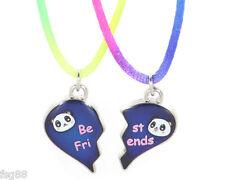 NEW BEST FRIENDS MOOD Panda Heart  Pendants 2 Necklace BFF Friendship