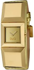 NEW D&G DOLCE GABBANA METAL STUD GOLD METALLIC LEATHER WATCH-DW0273