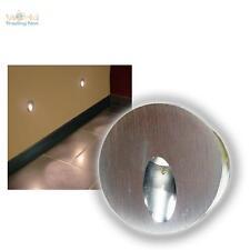 Alu Wandeinbaustrahler rund 1W LED daylight Wandeinbauleuchte Treppenbeleuchtung