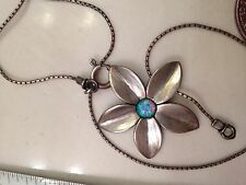 Unique Sterling Didae Opal Flower Petal Daisy Pendant Necklace 18 inch Chain 925