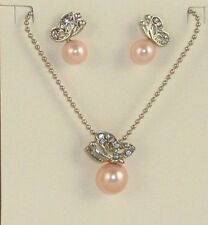 PINK, PURPLE OR RED RHINESTONE CRYSTAL BUTTERFLY PEARL NECKLACE EARRINGS SET