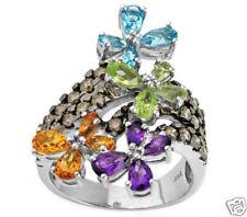 3.30ctw Diamond,Amethyst,Citrine + Ring 14K White Gold