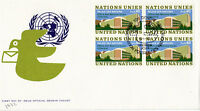 UNITED NATIONS 1972 PALACE OF NATIONS BLOCK OF 4 FIRST DAY COVER GENEVA CACHE
