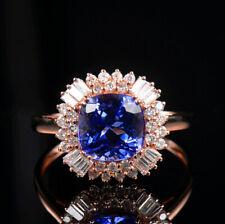 Christmas Sale Solid 14K Rose Gold Natural Blue Cushion Tanzanite Diamond Ring