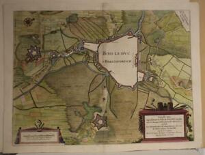 'S-HERTOGENBOSCH NETHERLANDS 1649 BLAEU UNUSUAL ANTIQUE COPPER ENGRAVED VIEW