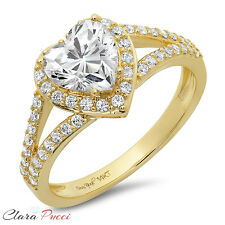 1.85CT Round Heart Cut Solitaire Engagement Wedding Ring Solid 14k Yellow Gold