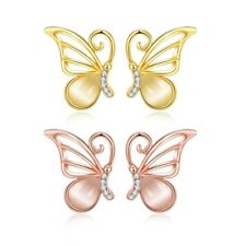 18K 18CT Yellow/Rose Gold Filled GF Butterfly Stud CZ Gift Wedding Earrings E636