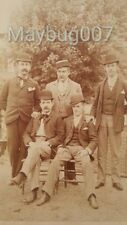 Antique Cabinet Photograph group of 5 men in derby hats pinstripes