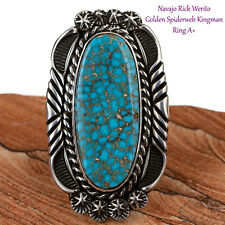 Turquoise Ring Sterling Silver GEM Natural Spiderweb Kingman Native American 7.5