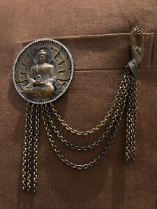 Buddha Brooch Antique Gold colour Gift for Him