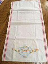 "New listing Vintage Embroidered Tea Pot Linen Dish Tea Towel Red Stripes 32"" X 16"" Euc"