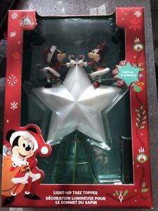 DISNEY STORE MICKEY & MINNIE MOUSE LIGHT-UP CHRISTMAS TREE TOPPER BNIB