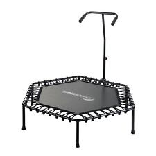 Hexagonal 50 in. Fitness Mini-Trampoline with T-Shaped Adjustable Hand Rail