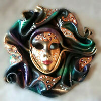 Tuareg - Maschera veneziana artigianale in ceramica e cuoio