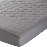 Gray Mattress Pad Fitted Sheet Quilted Matress Cover Hypoallergenic Deep Pocket
