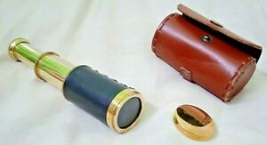 "Antique Small 6"" Inch Telescope with Unique  Leather Box best gift Replica"