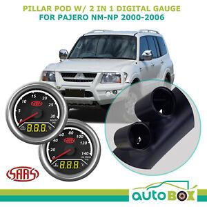 Pillar Pod w/ 2in1 Boost EGT Oil Water Gauge for Mitsubishi Pajero NM-NP 2000-06