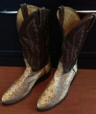 MENS 13D TONY LAMA BROWN LEATHER SNAKE SKIN COWBOY RODEO WESTERN BOOTS SIZE 13 D