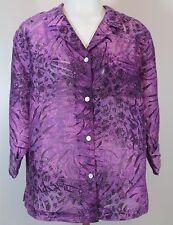 French Laundry Women's Top Size M Medium Purple Sheer Button-Down Shirt