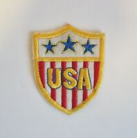 Vintage NOS Embroidered Patch USA American Shield Flag Stars Stripes Iron Sew On