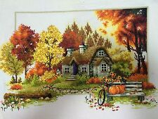 completed finished cross stitch Beautiful Autumn US FREE SHIPPING