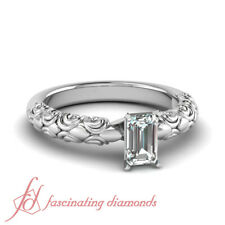 Solitaire Filigree Engagement Rings For Women With Emerald Cut Diamond 0.60 Ct